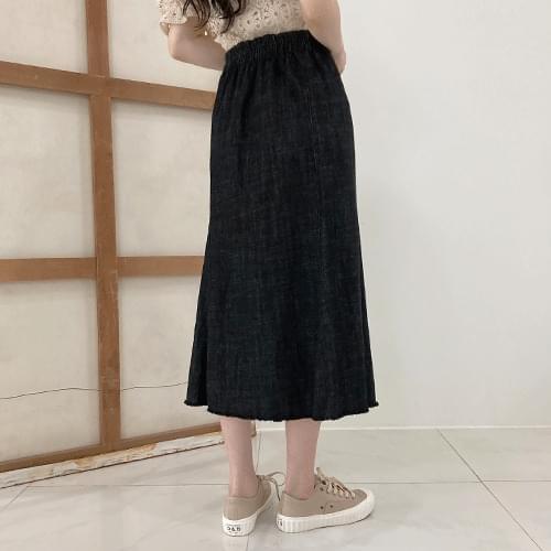 Banding long denim skirt P#YW511