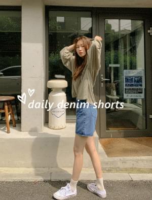 High waist 4 denim short pants