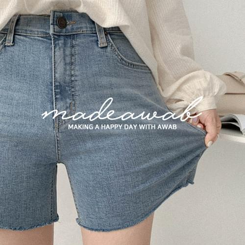 Port cutting denim shorts-Same day delivery ♥ (ver. Secret banding / 3.5 shorts)