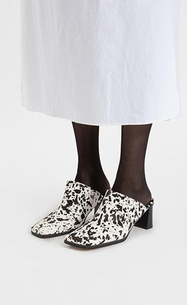 Real Calf Square Middle Hill Mule