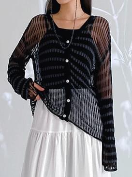 韓國空運 - See-through striped knit cardigan 針織外套