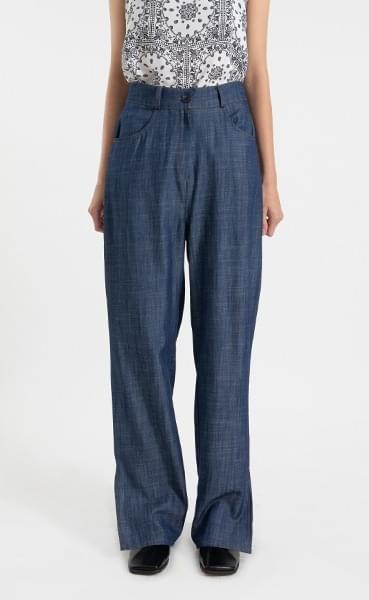 Tencel slit banding straight jeans