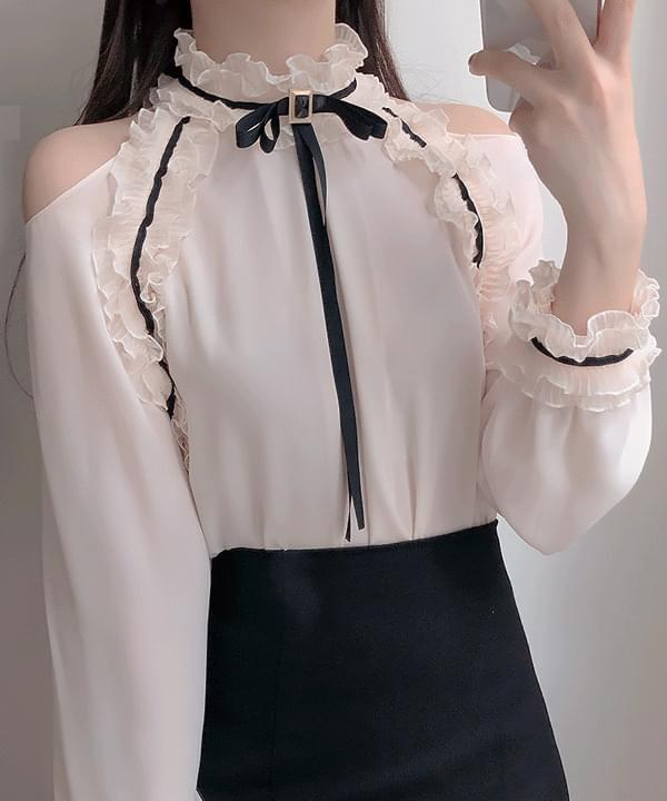 New Discount ♥ Brooch Set Romance Frill Shoulder Blouse
