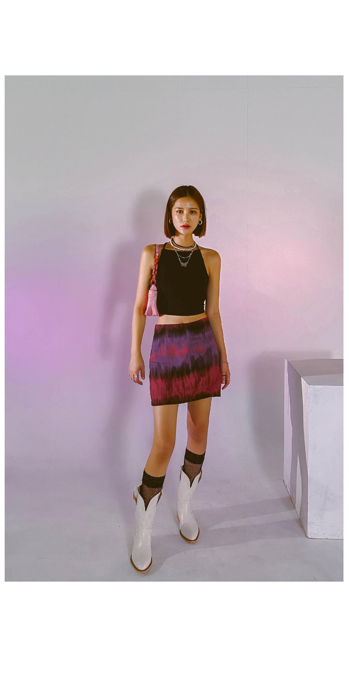 Tie-dye shaki mini skirt
