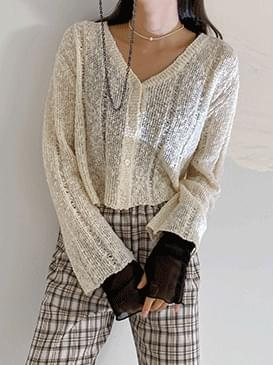 Cropped blur knit cardigan 開襟衫