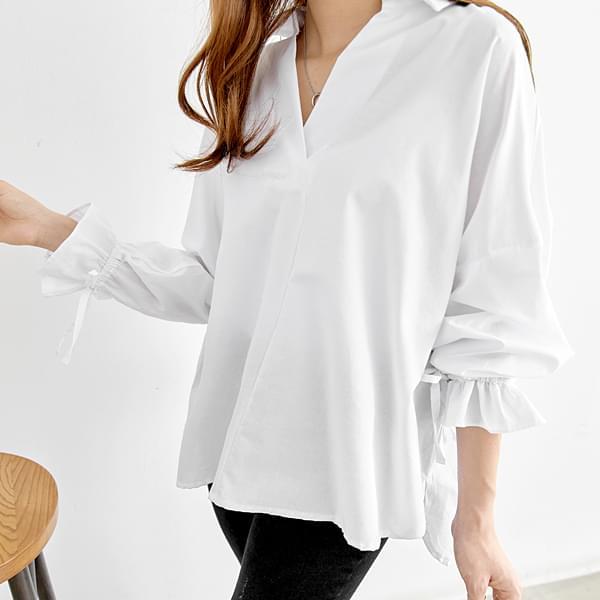 Apon Sleeve Point Unbalanced Half Open Shirt #42793