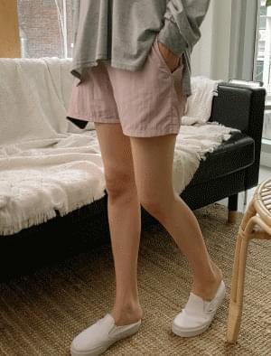 High waist stopper banding short pants