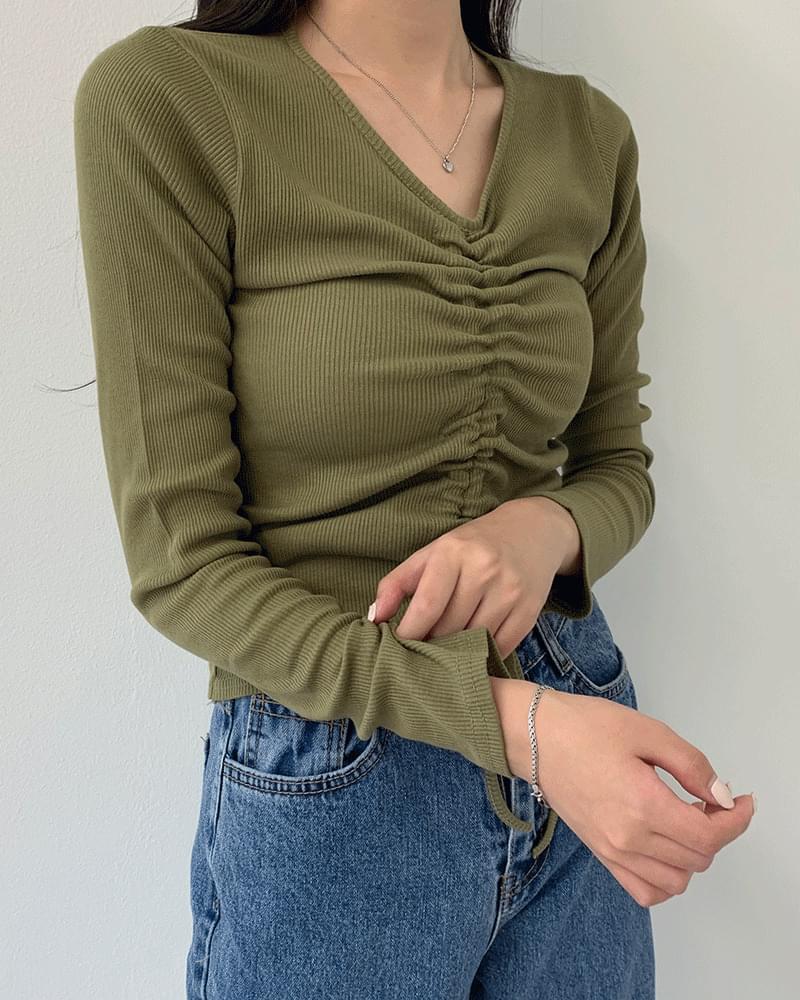Ria string shirred ribbed long-sleeved T-shirt