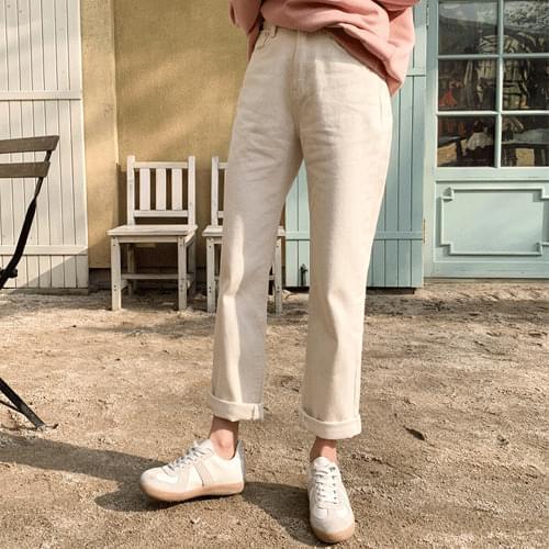 Straight Fit Cream Cotton Pants P#YW412