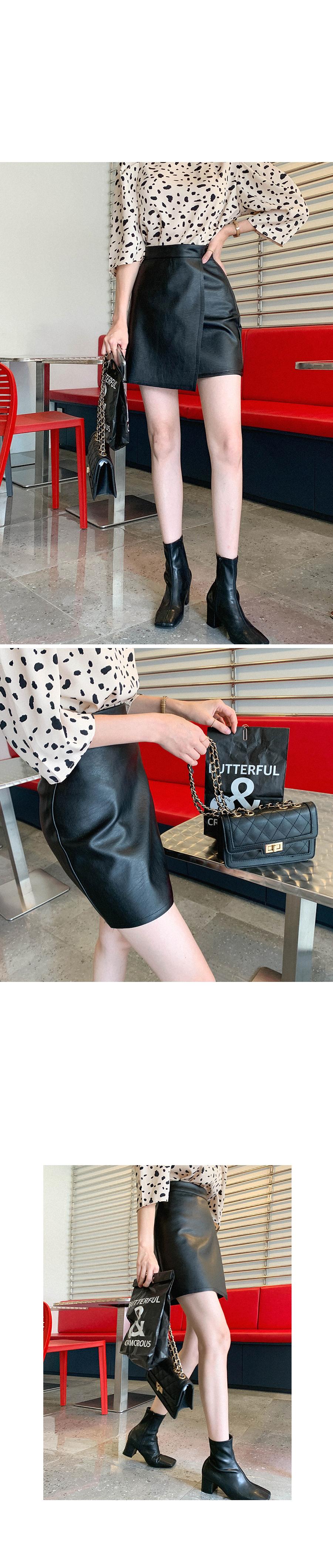 Heartbeat leather mini skirt