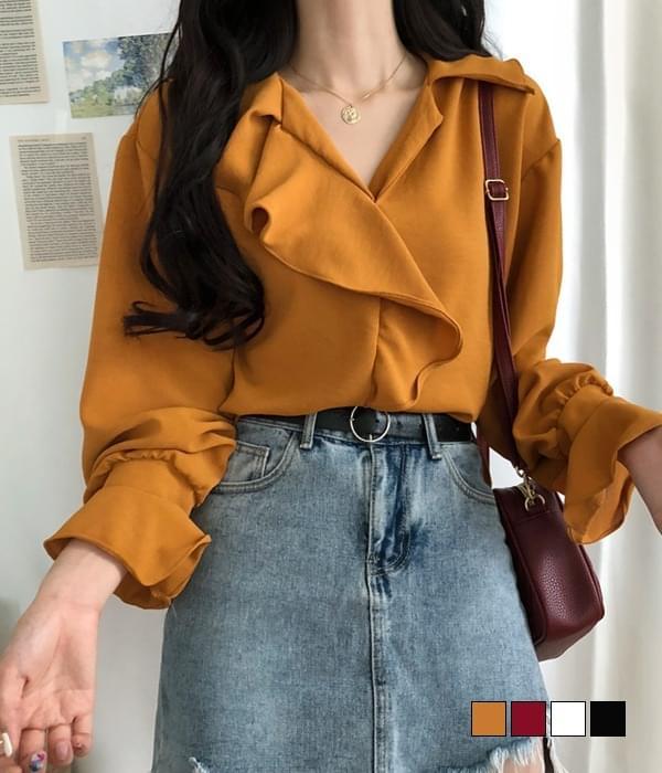 Evening sleeve frill blouse 襯衫