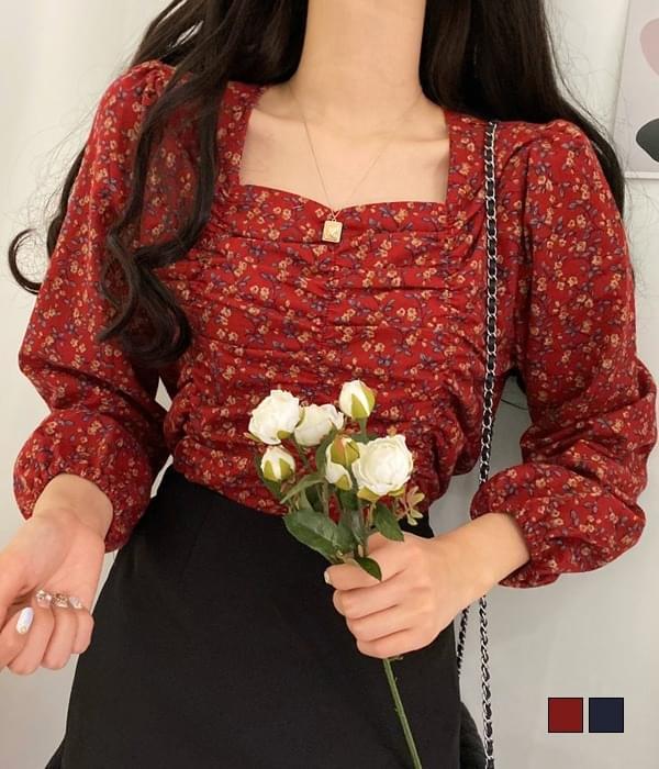Dalba flower ruched blouse 襯衫