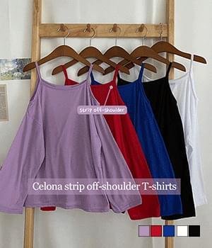 셀로나 어깨끈 루즈 오프숄더 티셔츠