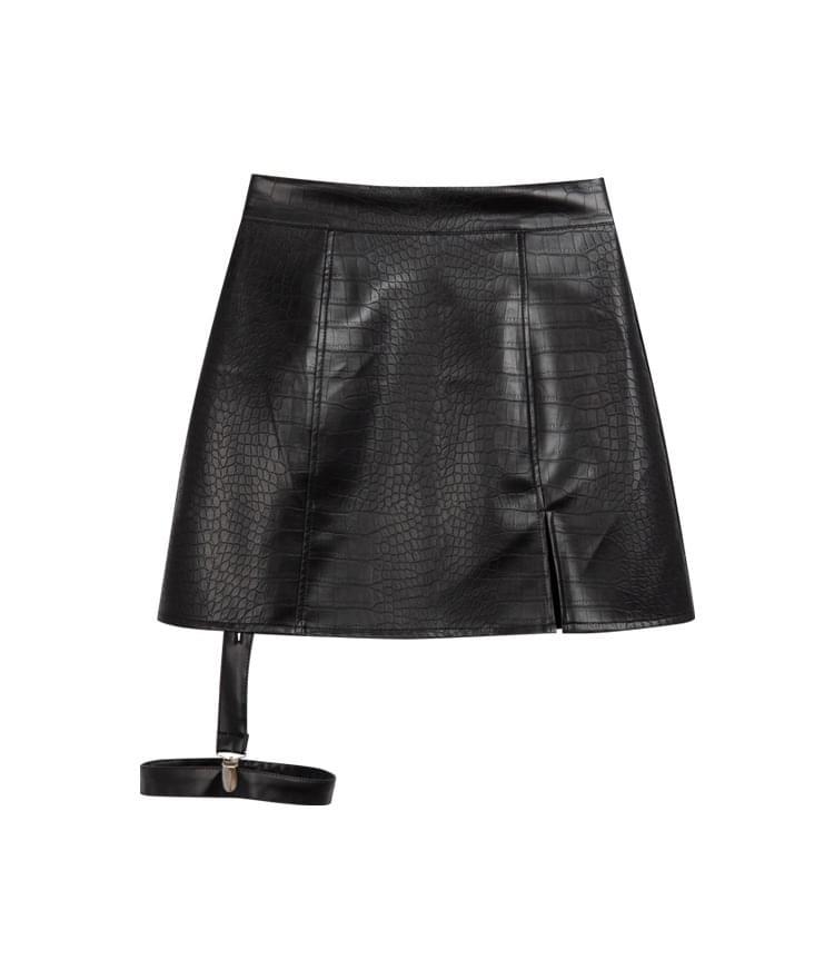 韓國空運 - HIDELeg Strap Leatherette Mini Skirt 裙子