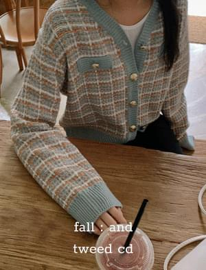 Color detail tweed cardigan