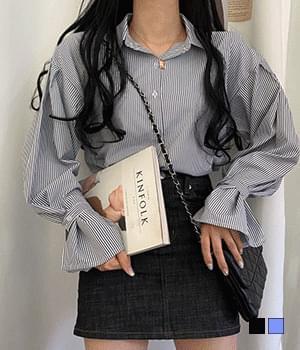 Labom button pintuck striped blouse
