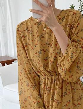 韓國空運 - ★10,000 won discount★Flower long frill ops♥Flower long dress:D 長洋裝