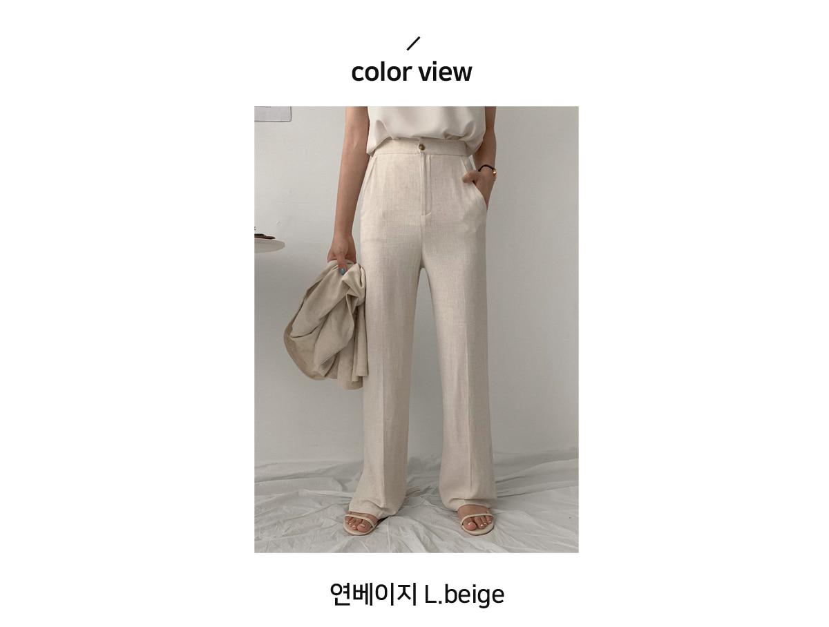 Her wide long linen pants