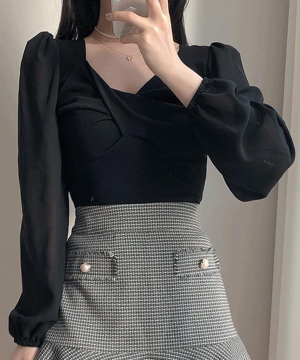 Ariane chiffon sleeve color matching blouse