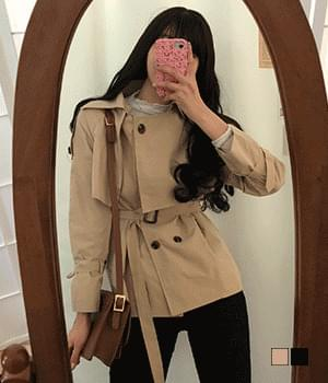 韓國空運 - Wrap short trench coat 大衣外套