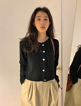 Pearl tweed round cardigan Cardigan/Vest