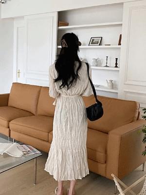 韓國空運 - Angel wrinkle dress 及膝洋裝