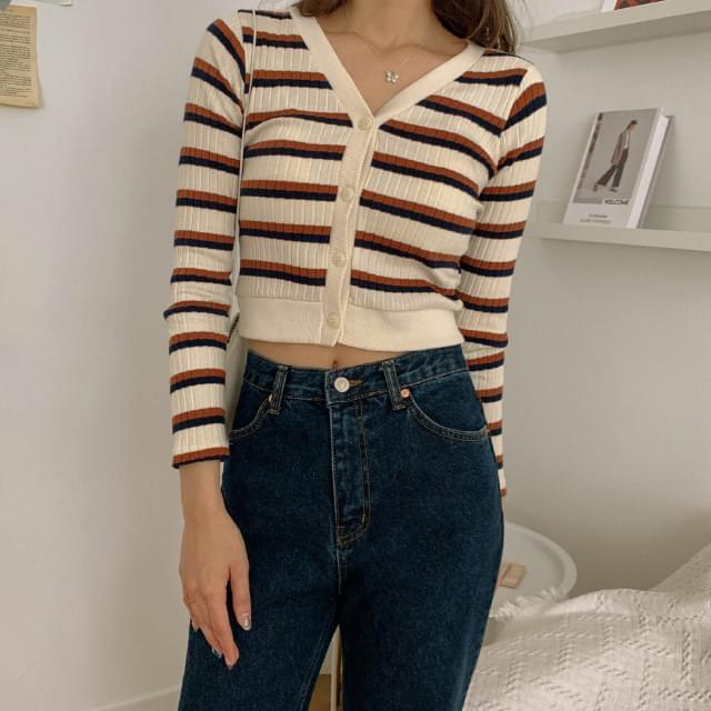 Striped semi-cropped ribbed cardigan