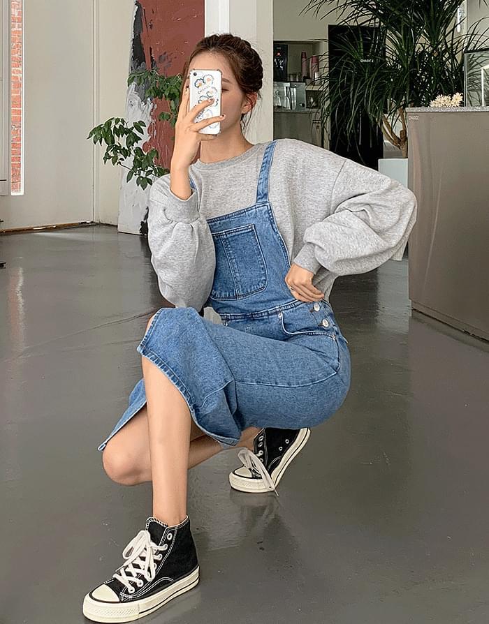 韓國空運 - 丹寧牛仔吊帶裙 及膝洋裝