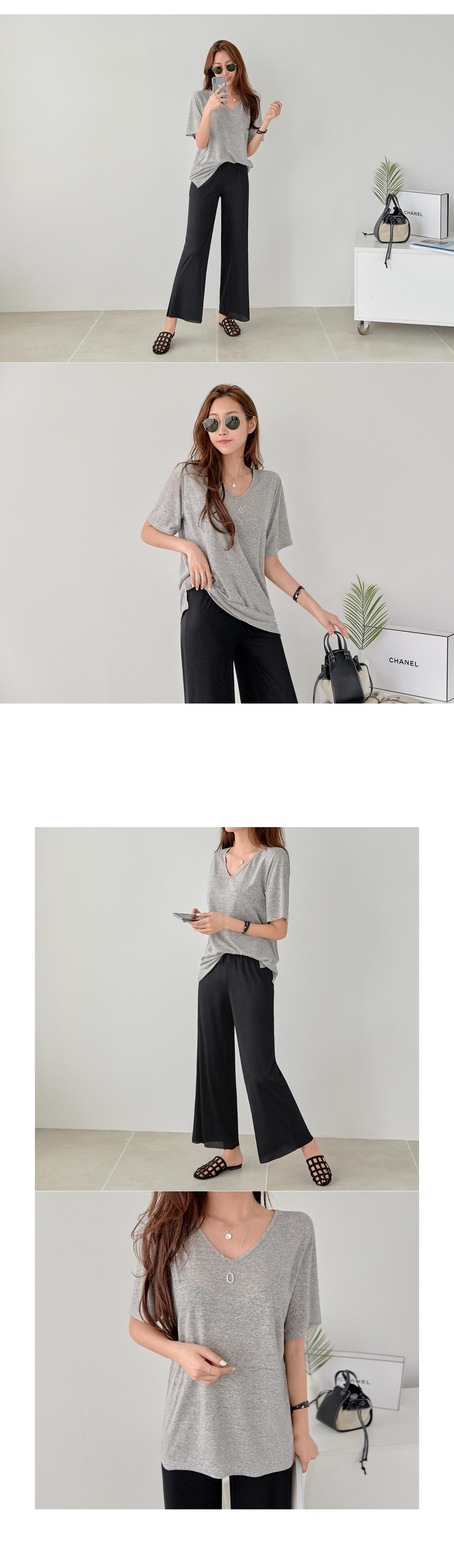 Linen V Loose Fit T-shirt #107150