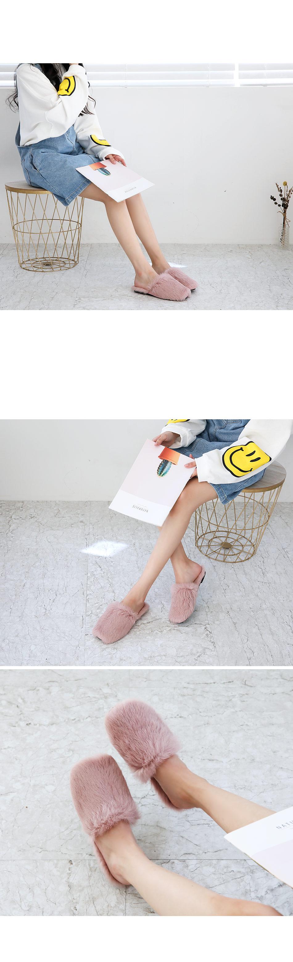 Collia fur slippers 1 cm