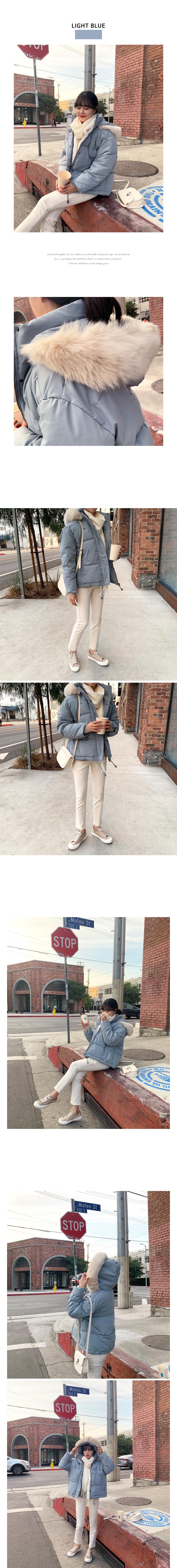Pastel cotton candy hood fur short padding O#YW115