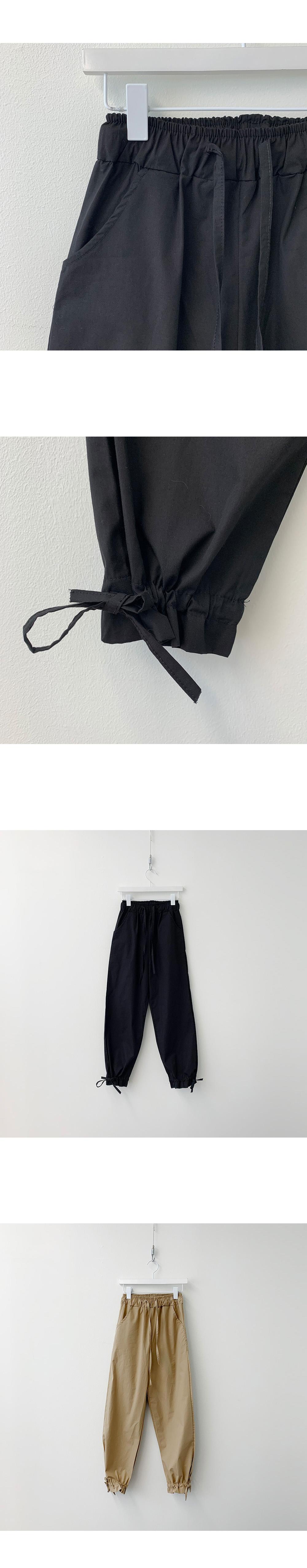 Jogger string ribbon ruffle banding pants