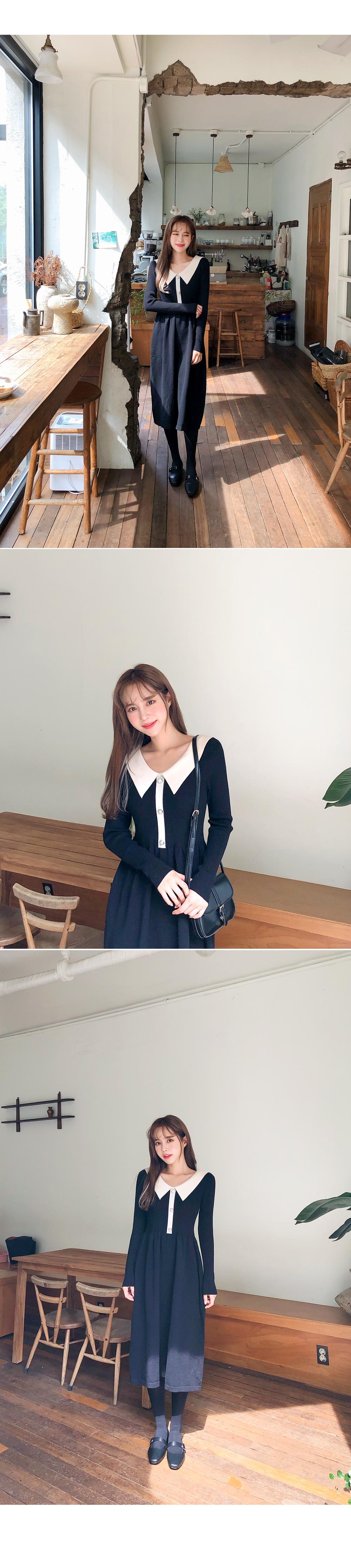Jewelry knit collar dress