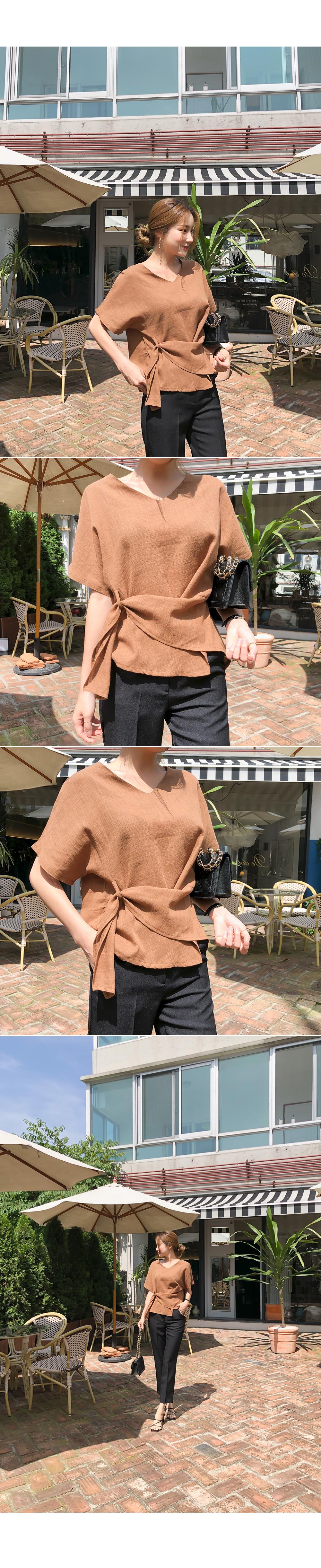 Waist line point blouse