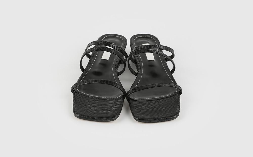 Python strap low heel sandals