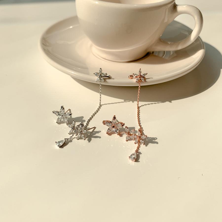 Flower Cubic Uncut Ear Cuff Silver Earrings