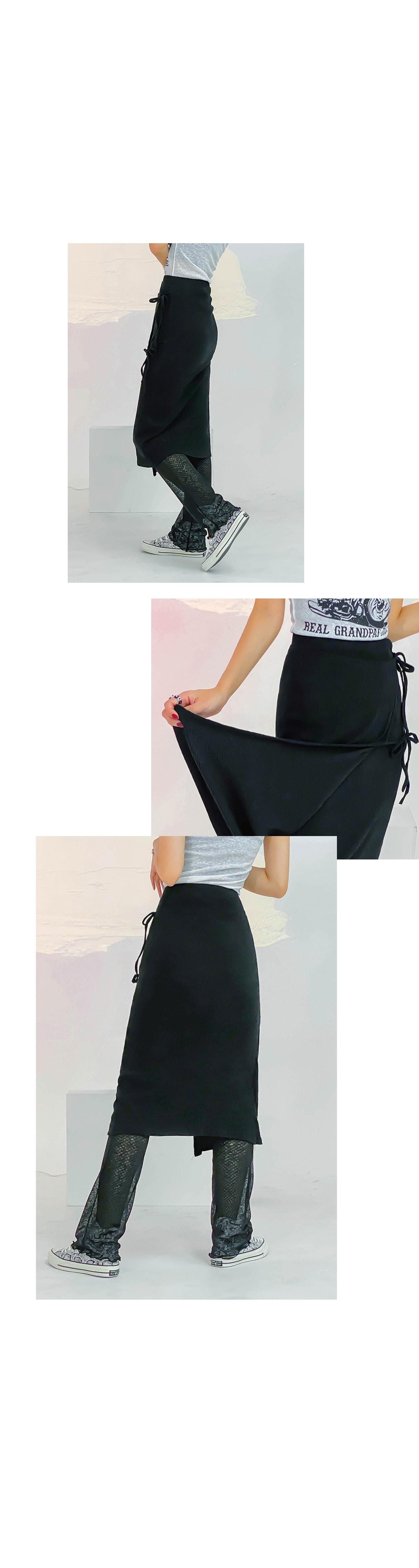 Wrinkle strap ribbon skirt