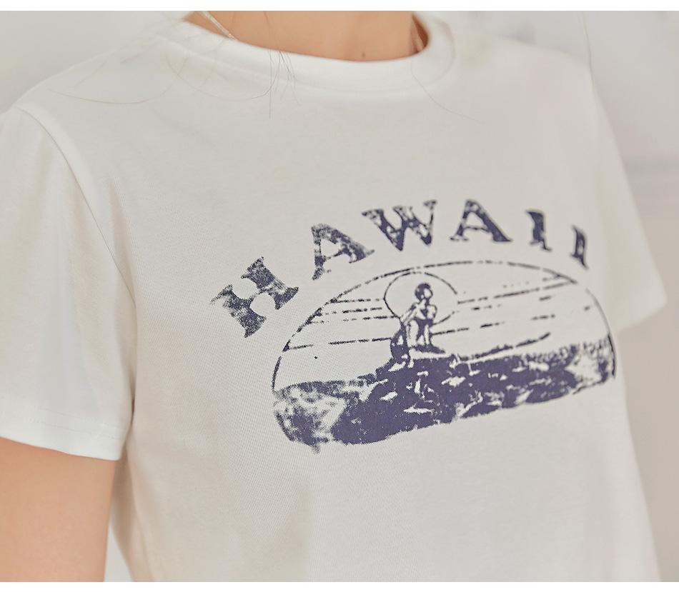 HAWAII VINTAGE PRINTING CROP 1/2 T