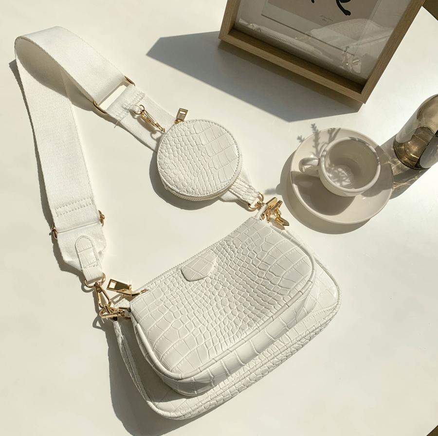 Triple Bag & Bag Clutch Cross Bag White