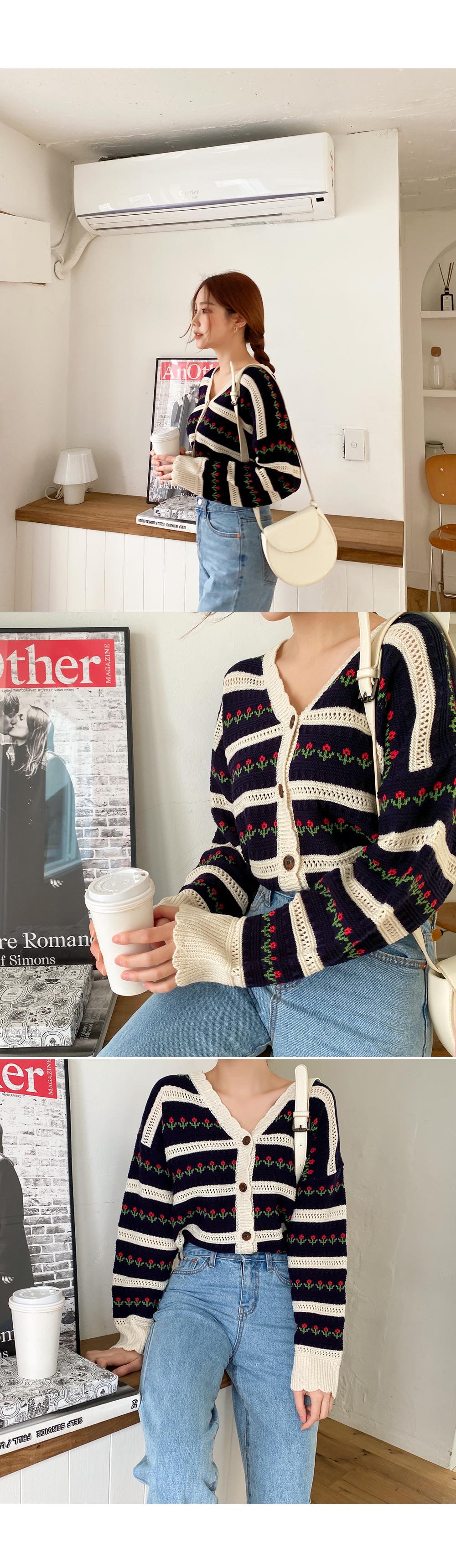 Latte Art Flower Knit Cardigan