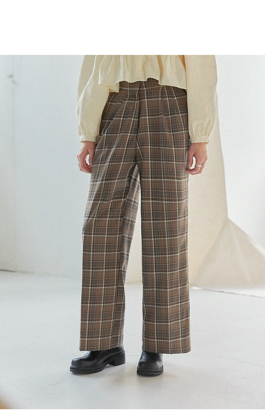 NUFF CHECK BANDING WIDE SLACKS