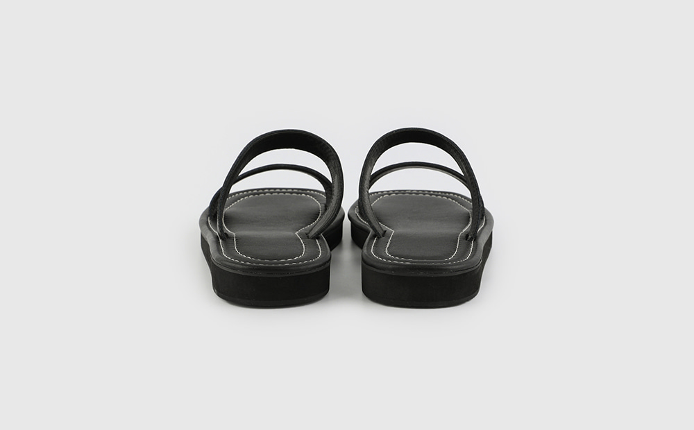 Stitched real leather strap flat sandals