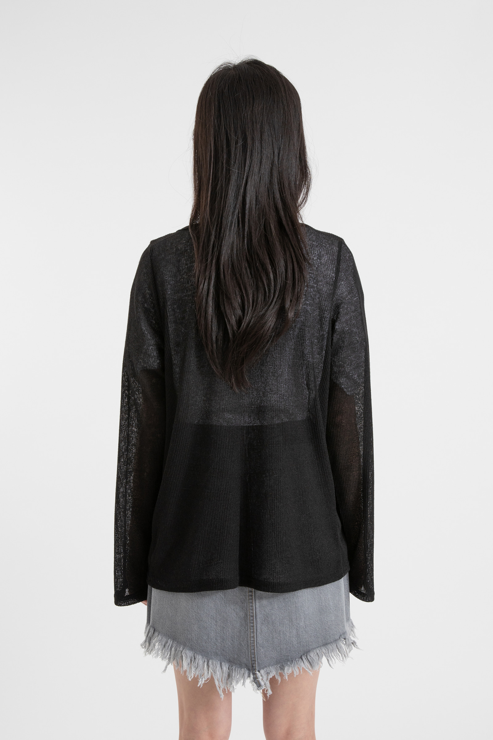 Linen see-through three-strap cardigan