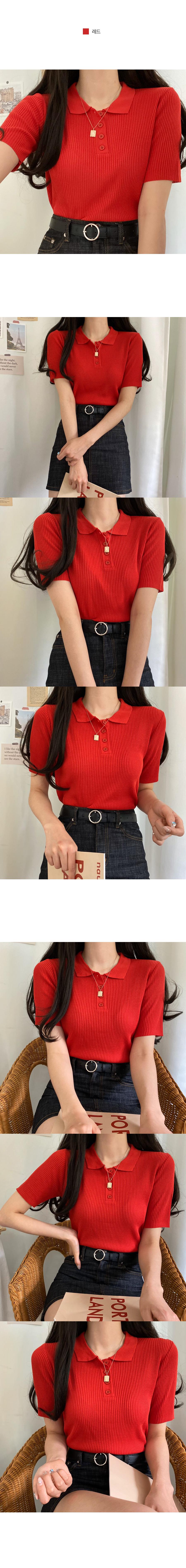 Delbi collar ribbed short-sleeved knit