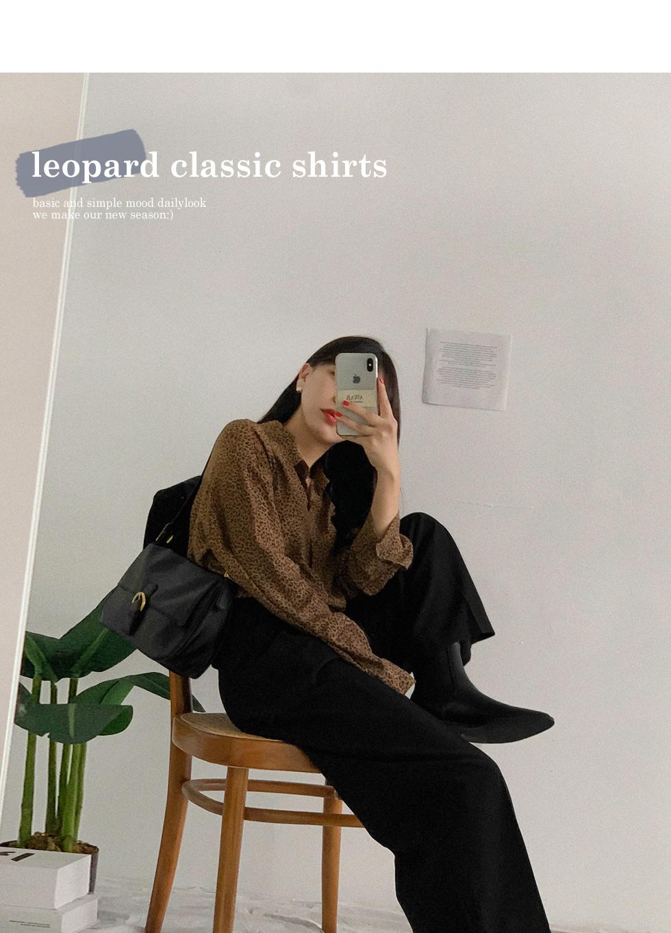 華麗豹紋單口袋長袖襯衫