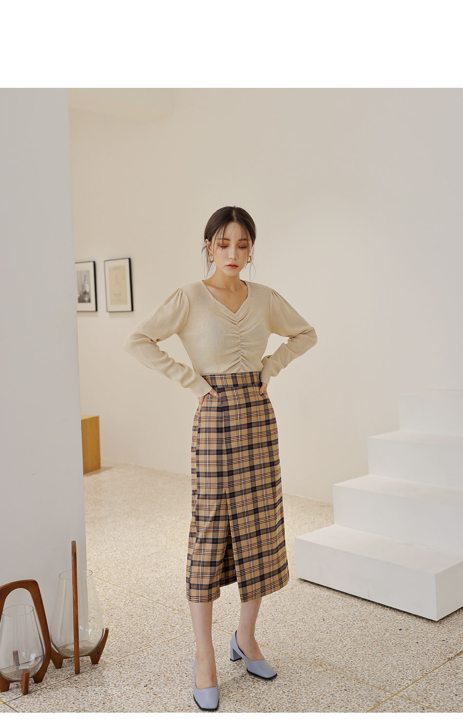 タータンチェックサイドスリットスカート