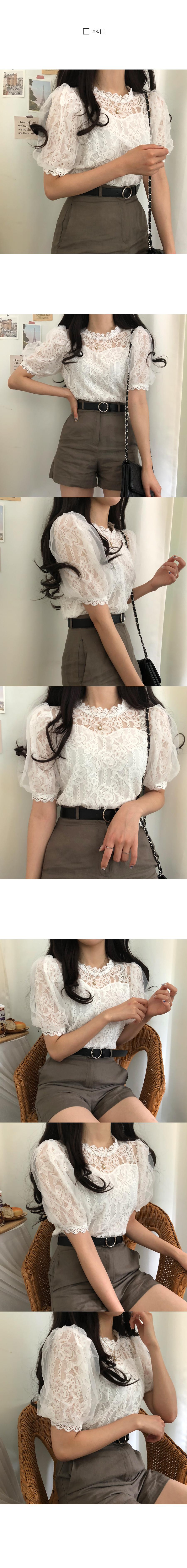 Chun Hye Hyang sleeve chiffon lace blouse