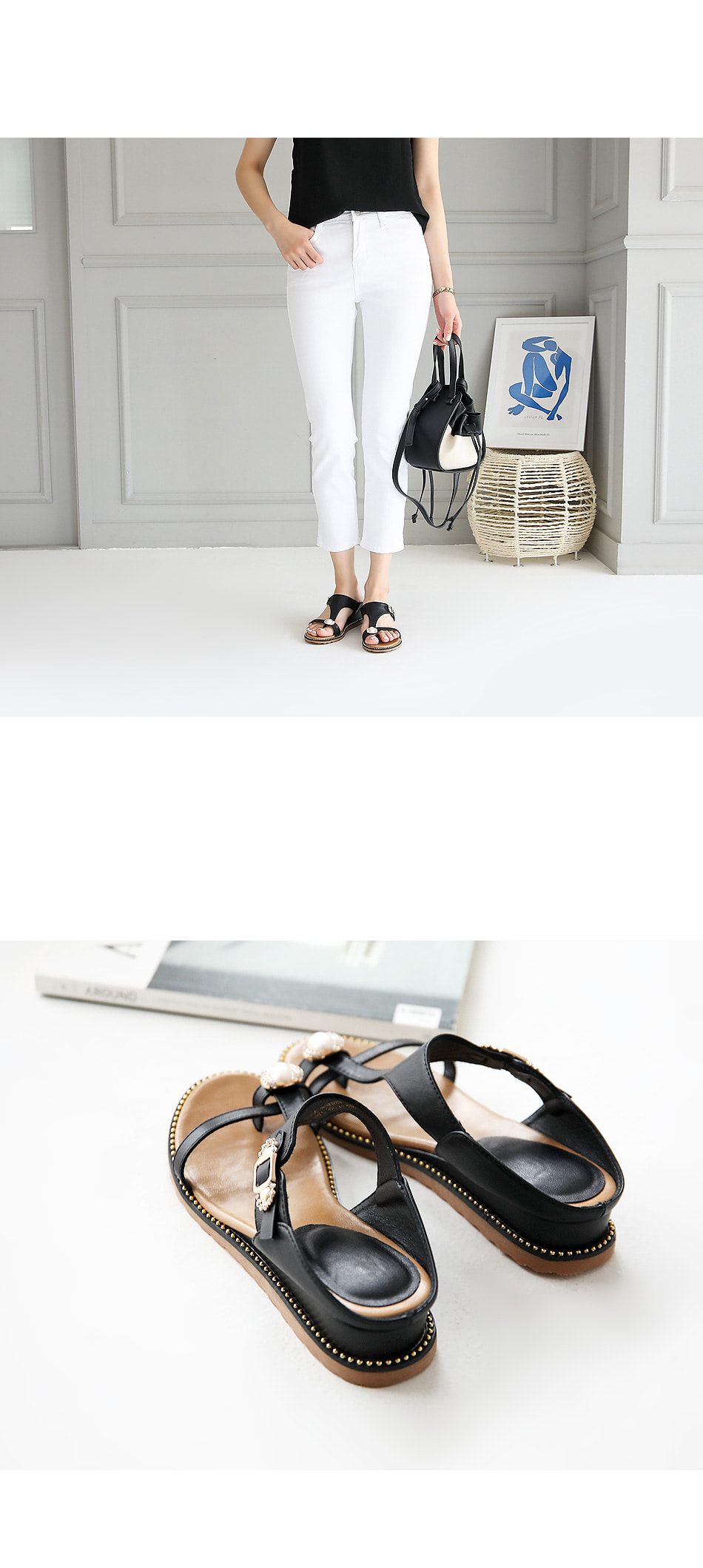 Chepron wedge slippers 4cm