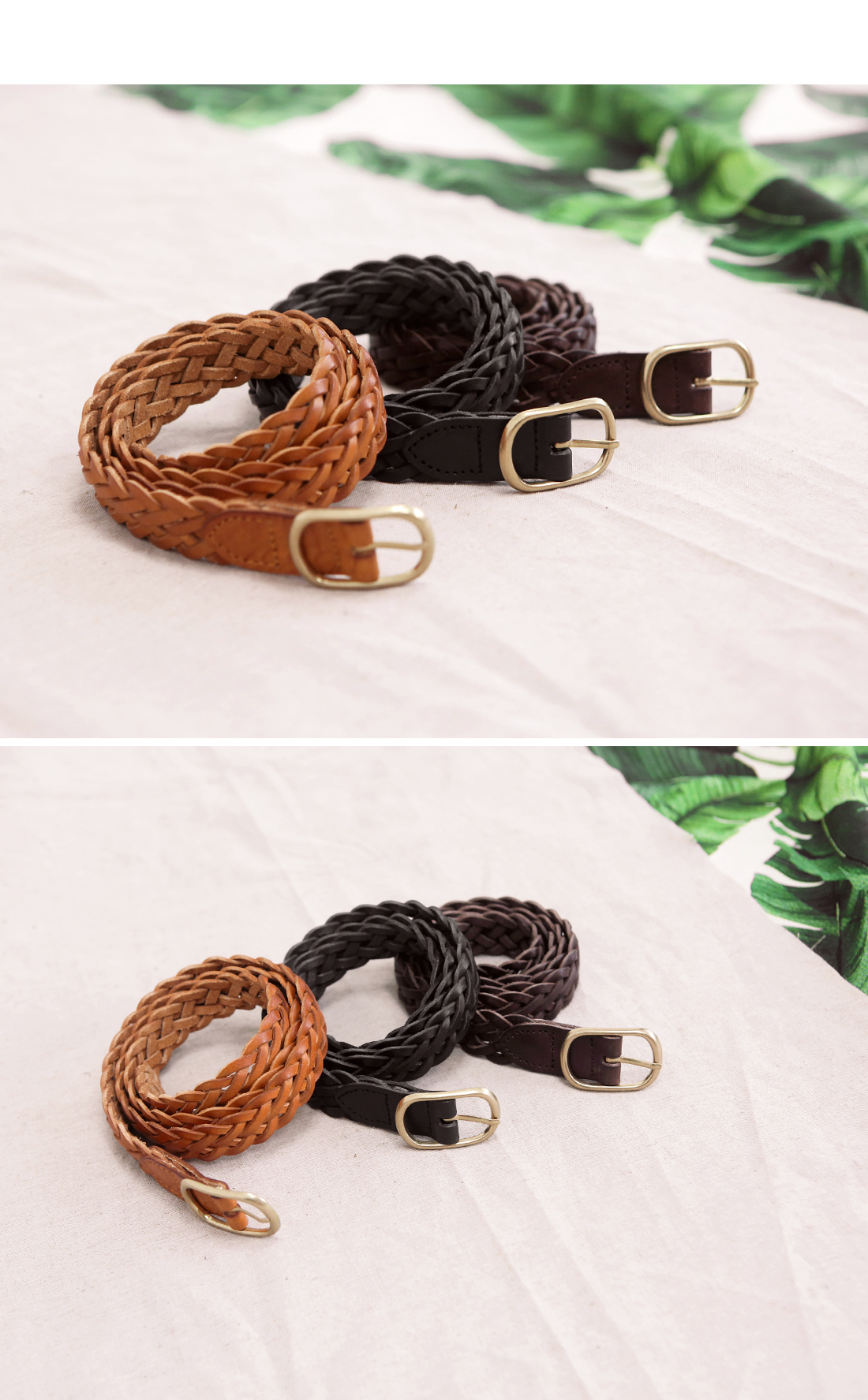 SQUARE TWIST LEATHER BELT