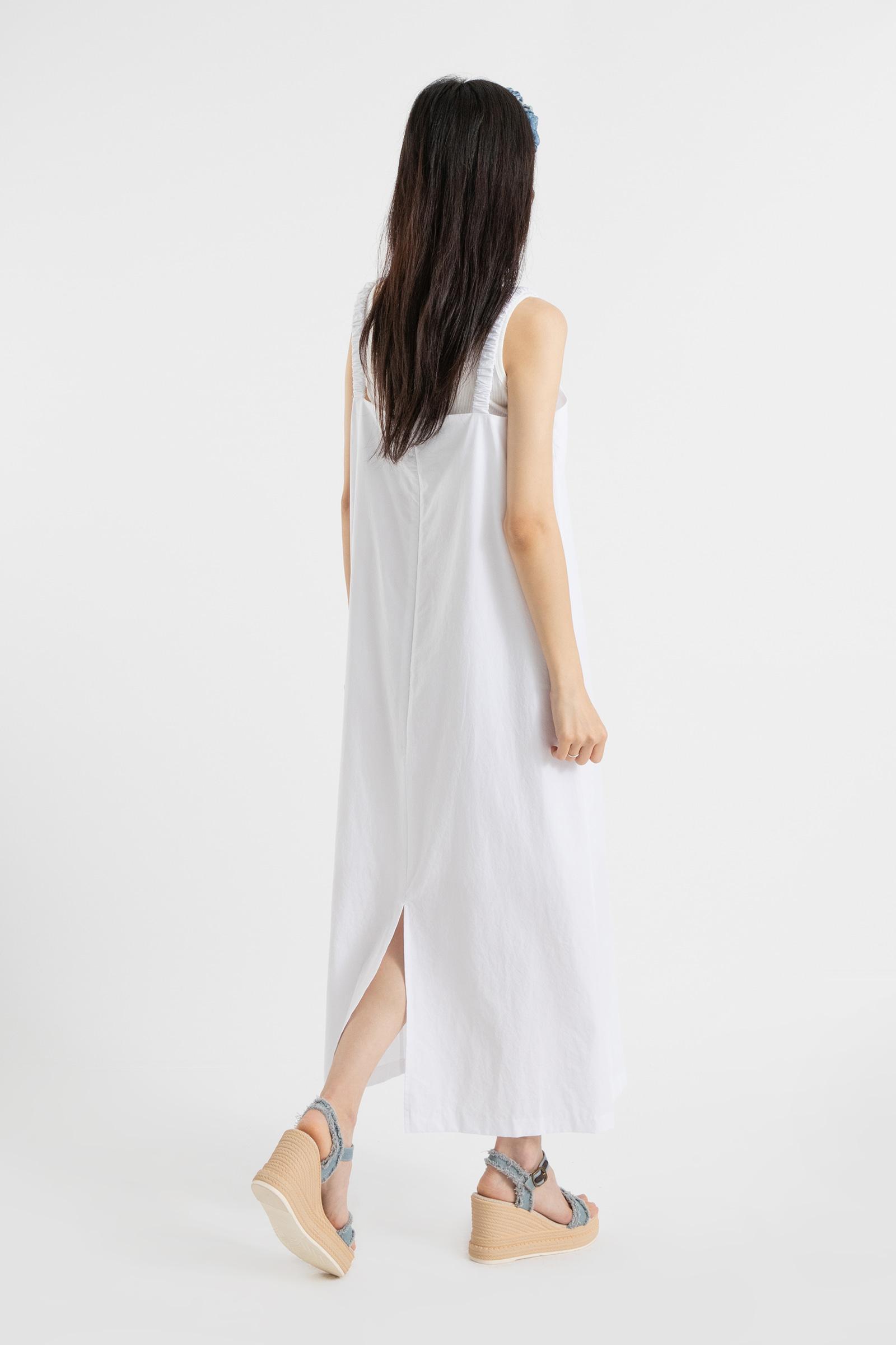 Plain Wrinkle Sleeveless Maxi Dress